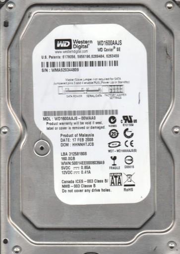 WD1600AAJS-00WAA0, DCM HHNNHTJCB, Western Digital 160GB SATA 3.5 Hard Drive