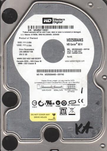 WD2500AAKS-00VYA0, DCM HARNNTJCHN, Western Digital 250GB SATA 3.5 Hard Drive