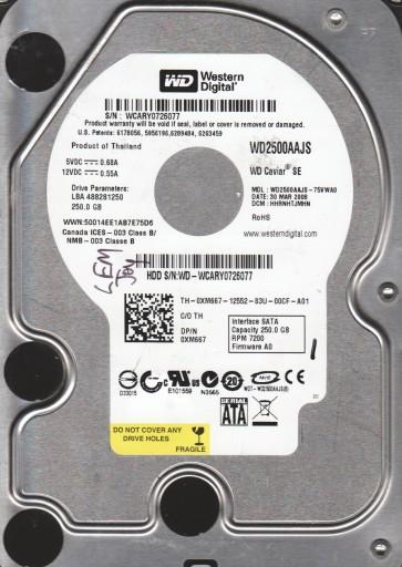 WD2500AAJS-75VWA0, DCM HHRNHTJMHN, Western Digital 250GB SATA 3.5 Hard Drive