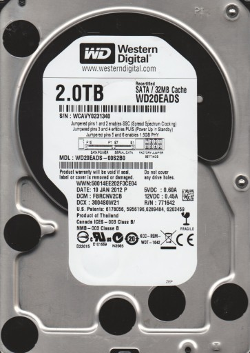 WD20EADS-00S2B0, DCM FBRCNV2CB, Western Digital 2TB SATA 3.5 Hard Drive