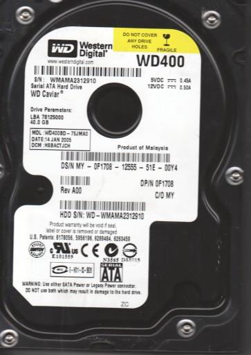 WD400BD-75JMA0, DCM HSBACTJCH, Western Digital 40GB SATA 3.5 Hard Drive