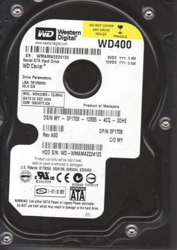 WD400BD-75JMA0, DCM DSCHYTJCA, Western Digital 40GB SATA 3.5 Hard Drive