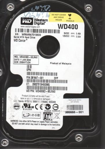 WD400BD-60LRA0, DCM DSBAYTJCH, Western Digital 40GB SATA 3.5 Hard Drive