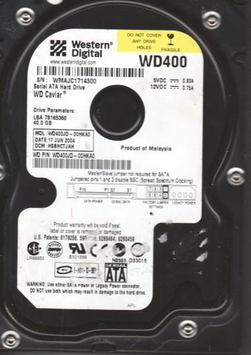 WD400JD-00HKA0, DCM HSBHCTJAH, Western Digital 40GB SATA 3.5 Hard Drive