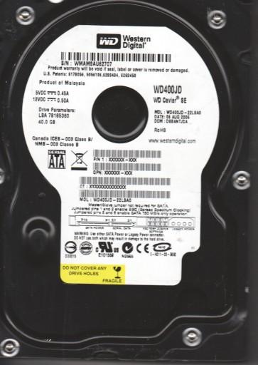 WD400JD-22LSA0, DCM DSBANTJCA, Western Digital 40GB SATA 3.5 Hard Drive