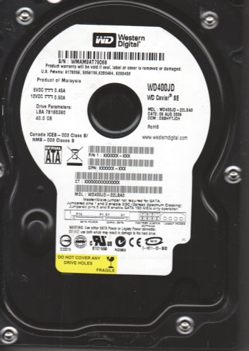 WD400JD-22LSA0, DCM DSBHYTJCH, Western Digital 40GB SATA 3.5 Hard Drive