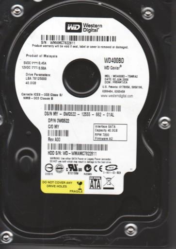 WD400BD-75MRA2, DCM HSBANTJCA, Western Digital 40GB SATA 3.5 Hard Drive