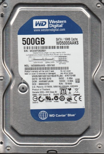 WD5000AAKS-00V1A0, DCM HHRNNTJAHN, Western Digital 500GB SATA 3.5 Hard Drive