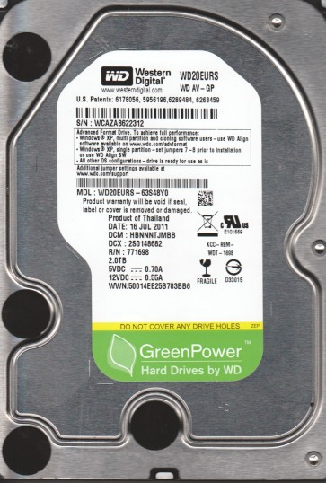 WD20EURS-63S48Y0, DCM HBNNNTJMBB, Western Digital 2TB SATA 3.5 Hard Drive