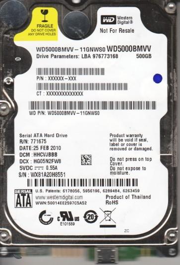 WD5000BMVV-11GNWS0, DCM HHCVJBBB, Western Digital 500GB USB 2.5 Hard Drive