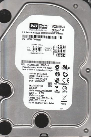 WD2500AAJB-00WGA0, DCM HHRNHTJCH, Western Digital 250GB IDE 3.5 Hard Drive