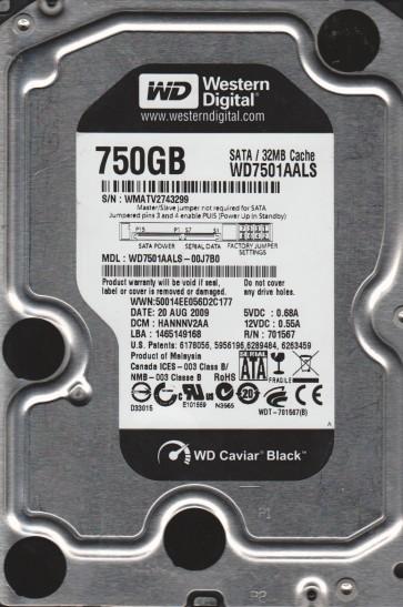 WD7501AALS-00J7B0, DCM HANNNV2AA, Western Digital 750GB SATA 3.5 Hard Drive