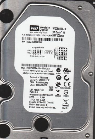 WD2500AAJB-00WGA0, DCM DANNNT2MB, Western Digital 250GB IDE 3.5 Hard Drive