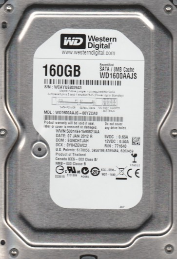 WD1600AAJS-00YZCA0, DCM EGNCHTJAH, Western Digital 160GB SATA 3.5 Hard Drive