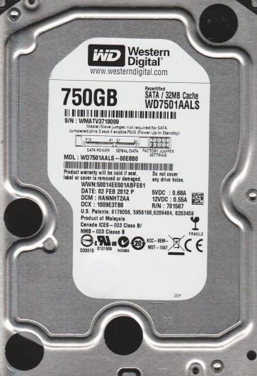 WD7501AALS-00E8B0, DCM HANNHT2AA, Western Digital 750GB SATA 3.5 Hard Drive