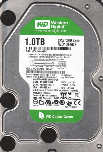 WD10EADS-00L5B1, DCM HBRNNT2MFN, Western Digital 1TB SATA 3.5 Hard Drive