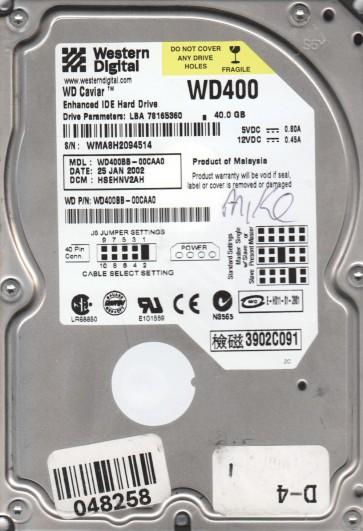 WD400BB-00CAA0, DCM HSEHNQ2AA, Western Digital 40GB SATA 3.5 Hard Drive