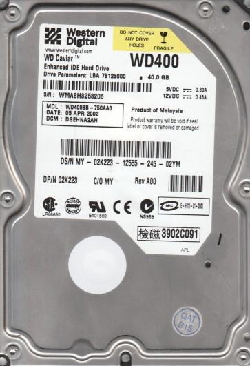 WD400BB-75CAA0, DCM DSEHNA2AH, Western Digital 40GB IDE 3.5 Hard Drive