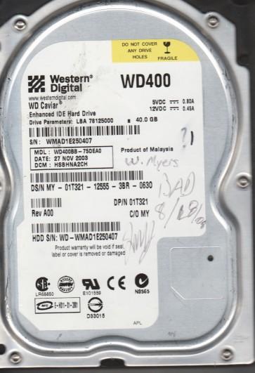 WD400BB-75DEA0, DCM HSBHNA2CH, Western Digital 40GB IDE 3.5 Hard Drive