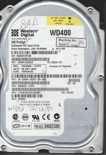 WD400EB-11CPF0, DCM HSBANV2C, Western Digital 40GB IDE 3.5 Hard Drive