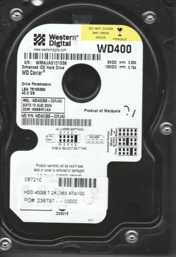 WD400BB-00FJA0, DCM HSBBNTJAA, Western Digital 40GB IDE 3.5 Hard Drive
