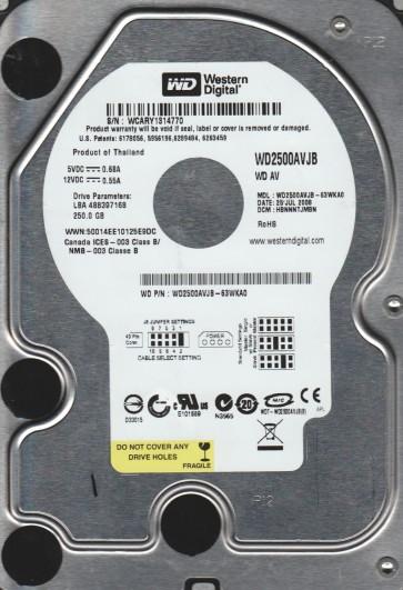 WD2500AVJB-63WKA0, DCM HBNNNTJMBN, Western Digital 250GB IDE 3.5 Hard Drive