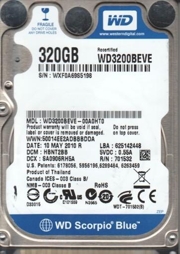 WD3200BEVE-00A0HT0, DCM HBNT2BB, Western Digital 320GB IDE 2.5 Hard Drive