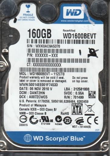 WD1600BEVT-11ZCT0, DCM DANT2HN, Western Digital 160GB SATA 2.5 Hard Drive