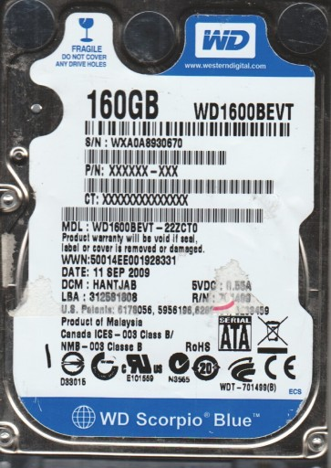 WD1600BEVT-22ZCT0, DCM HANTJAB, Western Digital 160GB SATA 2.5 Hard Drive