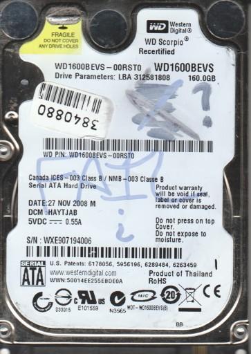 WD1600BEVS-00RST0, DCM HAYTJAB, Western Digital 160GB SATA 2.5 Hard Drive