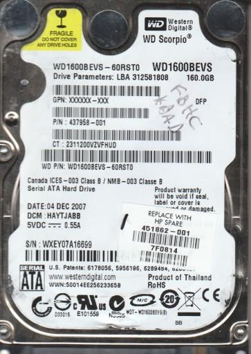 WD1600BEVS-60RST0, DCM HAYTJABB, Western Digital 160GB SATA 2.5 Hard Drive