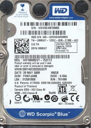WD1600BEVT-75ZCT2, DCM FHNTJANB, Western Digital 160GB SATA 2.5 Hard Drive