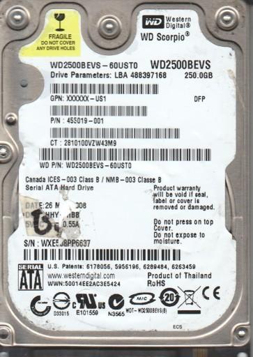 WD2500BEVS-60UST0, DCM HHYTJHBB, Western Digital 250GB SATA 2.5 Hard Drive