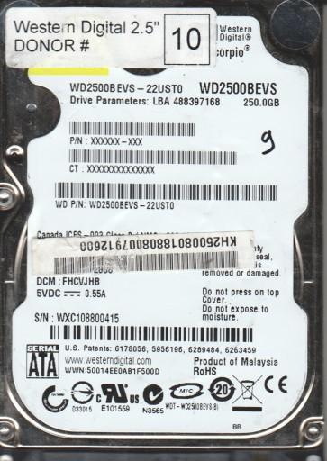 WD2500BEVS-22UST0, DCM FHCVJHB, Western Digital 250GB SATA 2.5 Hard Drive
