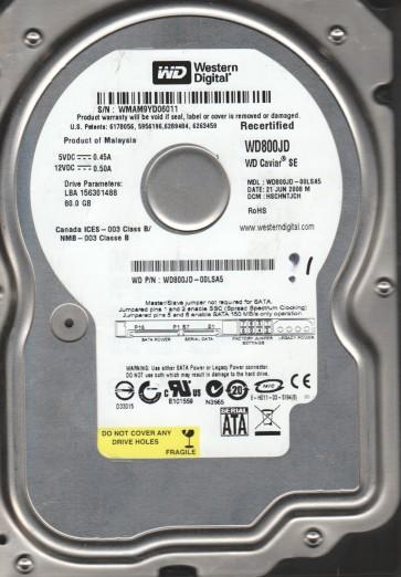 WD800JD-00LSA5, DCM HSCHNTJCH, Western Digital 80GB SATA 3.5 Hard Drive