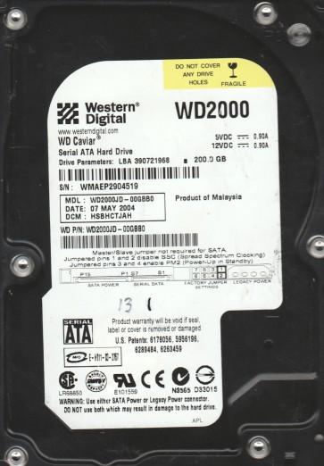 WD2000JD-00GBB0, DCM HSBHCTJAH, Western Digital 200GB SATA 3.5 Hard Drive