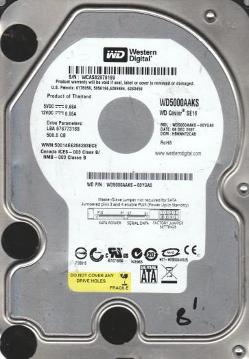 WD5000AAKS-00YGA0, DCM HBNNNT2CAB, Western Digital 500GB SATA 3.5 Hard Drive