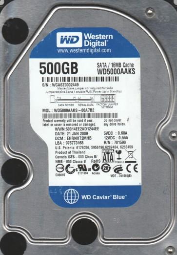 WD5000AAKS-00A7B2, DCM EHRNHT2MHB, Western Digital 500GB SATA 3.5 Hard Drive