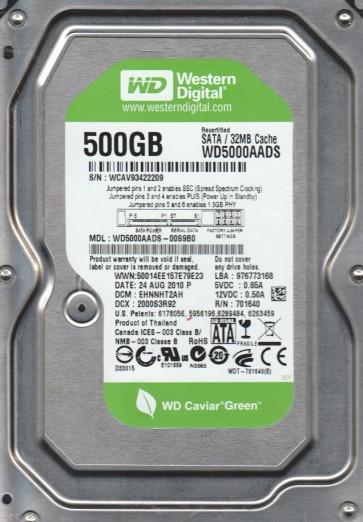 WD5000AADS-00S9B0, DCM EHNNHT2AH, Western Digital 500GB SATA 3.5 Hard Drive