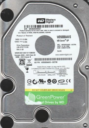 WD5000AAVS-00ZTB0, DCM HHNCHTJCHN, Western Digital 500GB SATA 3.5 Hard Drive