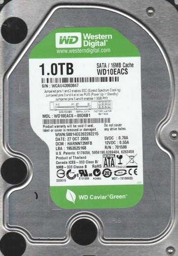 WD10EACS-00D6B1, DCM HARNNT2MFB, Western Digital 1TB SATA 3.5 Hard Drive