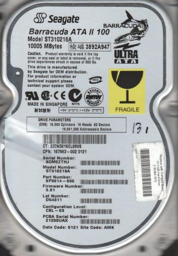 ST310216A, 3CM, AMK, PN 9P3014-030, FW 3.01, Seagate 10.2GB IDE 3.5 Hard Drive