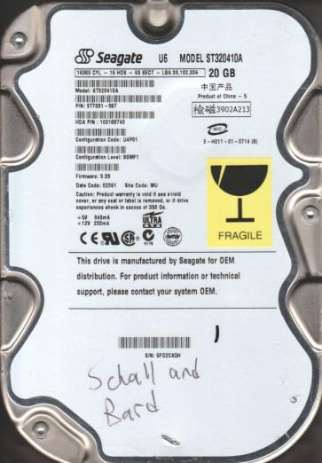 ST320410A, 5FG, WU, PN 9T7001-087, FW 3.39, Seagate 20GB IDE 3.5 Hard Drive