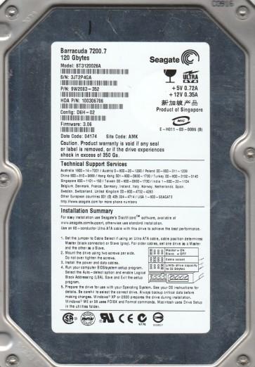 ST3120026A, 3JT, AMK, PN 9W2083-352, FW 3.06, Seagate 120GB IDE 3.5 Hard Drive