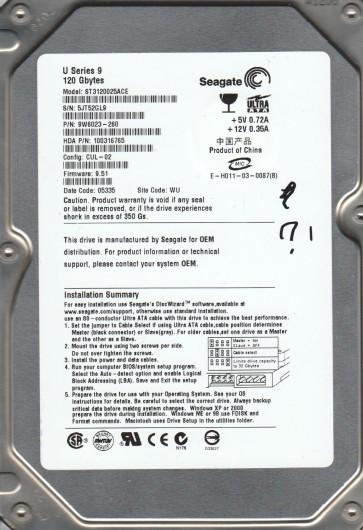 ST3120025ACE, 5JT, WU, PN 9W6023-260, FW 9.51, Seagate 120GB IDE 3.5 Hard Drive