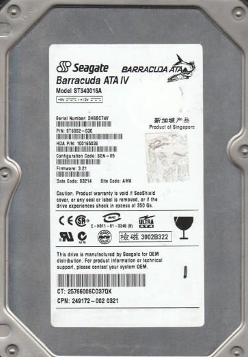 ST340016A, 3HS, AMK, PN 9T6002-030, FW 3.21, Seagate 40GB IDE 3.5 Hard Drive