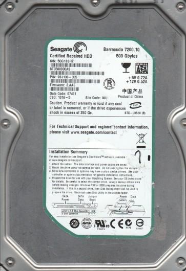 ST3500830AS, 5QG, WU, PN 9BJ136-305, FW 3.AAE, Seagate 500GB SATA 3.5 Hard Drive