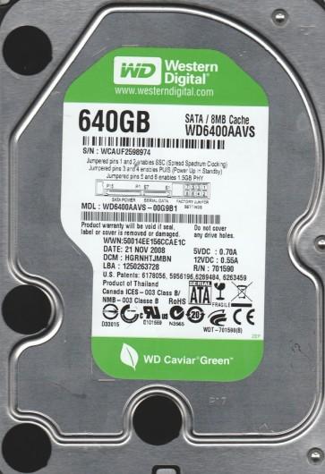 WD6400AAVS-00G9B1, DCM HGRNHTJMBN, Western Digital 640GB SATA 3.5 Hard Drive