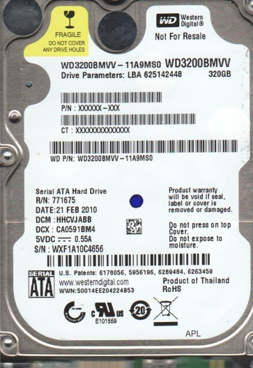 WD3200BMVV-11A9MS0, DCM HHCVJABB, Western Digital 320GB USB 2.5 Hard Drive
