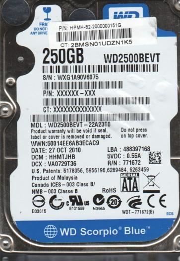 WD2500BEVT-22A23T0, DCM HHMTJHB, Western Digital 250GB SATA 2.5 Hard Drive